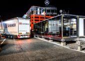 Tým Mercedesu přepravuje na Velkou cenu Maďarska firma DB Schenker