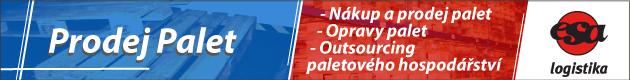 Prodej palet, banner obsahující nabídku na prodej palet, výkup, opravy a správu paletového hospodářství