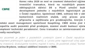 CBRE zprostředkovala prodej rozsáhlých pozemků poblíž Plzně s možností rozvoje jednoho z největších logistických parků v ČR